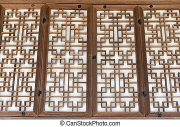 drzwi, drewniany, próbka, azja, tradycyjny, papier