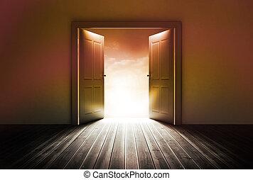drzwi, jasne światło, odkrywczy