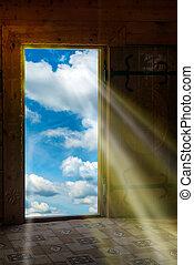 drzwi, lekki, przez, nowy świat, słońce lustrzane
