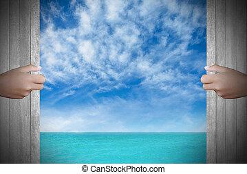 drzwi, morze, dwa, tło, siła robocza, otwarty