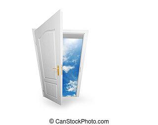 drzwi, nadzieja, powodzenie, droga, pojęcia, nowy, world.