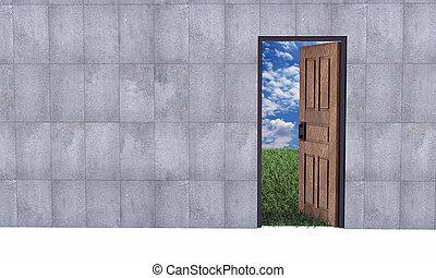 drzwi, niebo