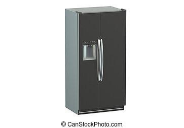 drzwi, nowoczesny, lodówka, system, bok-przez-bok, srebro