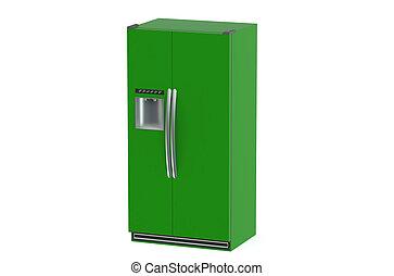 drzwi, nowoczesny, lodówka, system, zielony, bok-przez-bok