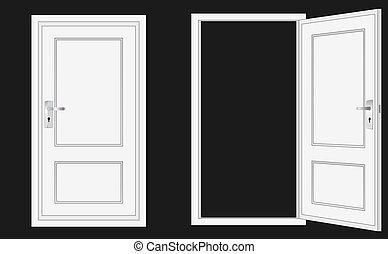 drzwi, otworzony, zamknięty