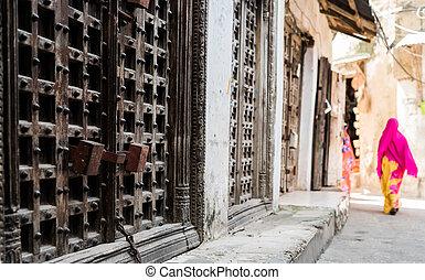 drzwi, ulica, fałszywy, żelazo, afrykanin, brama