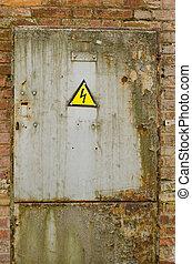 drzwi, z, żółty, ostrzeżenie znaczą, od, niebezpieczeństwo