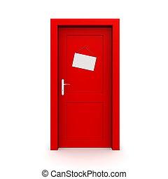 drzwi, zamknięty, czerwony, znak