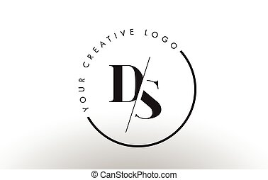 DS Serif Letter Logo Design with Creative Intersected Cut. -...