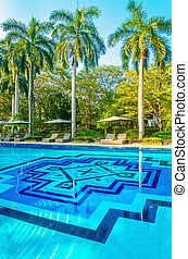 DSeck chairs and high palm trees at swimming pool