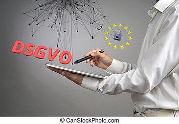 dsgvo, allemand, version, de, gdpr., général, protection données, règlement, concept, les, protection, de, personnel, data., jeune homme, à, tablette, travaux, à, a, virtuel, interface.