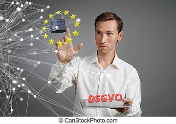 dsgvo, allemand, version, de, gdpr., général, protection données, règlement, concept, les, protection, de, personnel, data., jeune homme, à, tablette, travaux ordinateur, à, a, virtuel, interface.