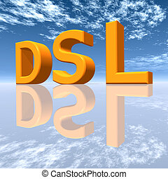 DSL - Digital Subscriber Line - Computer generated 3D...