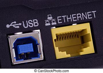 DSL Modem Detail - Close-Up detail of a modern DSL Modem