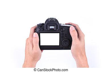 dslr, appareil photo, fond, mains, blanc, tenue