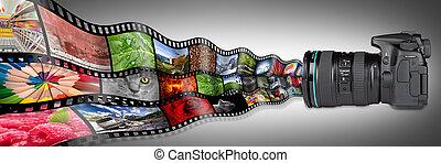 dslr camera concept - dslr camera with film strips