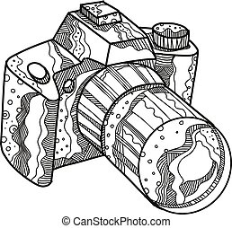 DSLR-Camera-DOODLE - Doodle art illustration of a DSLR ...