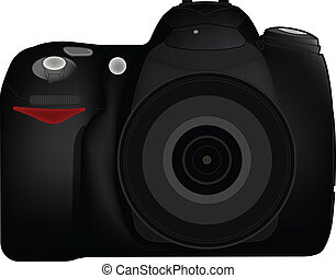 DSLR Camera - Isolated DSLR camera from frontside with lens...