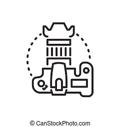 DSLR camera - line design single isolated icon on white ...