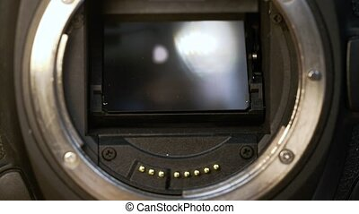 DSLR camera mirror, shutter and sensor in slow motion
