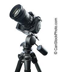 DSLR camera on tripod, isolated on white background