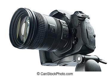 DSLR camera on tripod, isolated white background