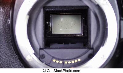 DSLR Camera shutter 1 - Moment of SLR of photographing,...