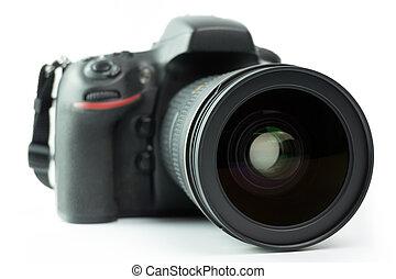 DSLR camera - Professional black DSLR camera over white...
