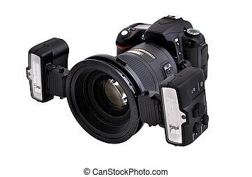 dslr camera with macro flashes  on a white background