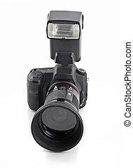 dslr, destello, lente, cámara, telefotográfico, profesional