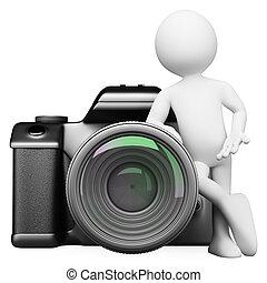 dslr, digital kamera, leute., 3d, weißes