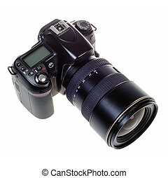 DSLR digital single lens reflex camera isolated - digital...