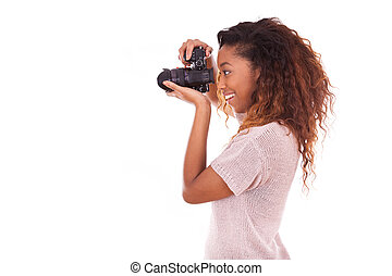 dslr, fotógrafo, toma, norteamericano, cámara, africano, ...