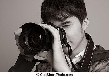 dslr, fotograf, nehmen fotos, fotoapperat, digital, mann