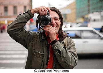 dslr, fotograf, nehmen, junger, fotoapperat, foto