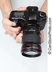 dslr, fotografo, moderno, lente, telefoto, mani