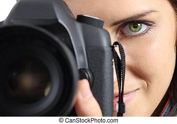 dslr, fotografo, su, macchina fotografica, chiudere, fotografare