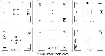 dslr, gabarit, ui, lentille, appareil photo, interface, vidéos, pictograms, vecteur, viewfinder., concentré, collection