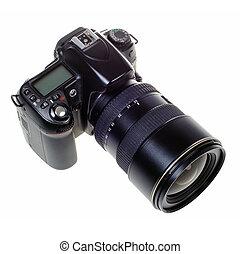dslr, isolato, lente, singolo, macchina fotografica,...