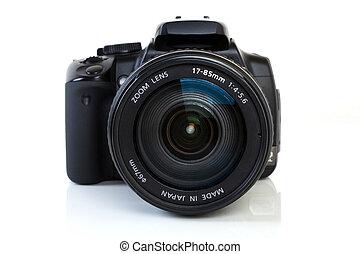 dslr, kamera, -, synhåll, främre del