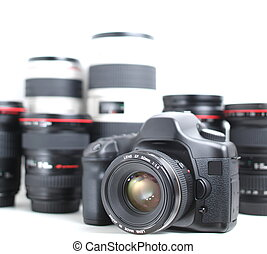 DSLR & Lenses (Modern hi-end professional photographic equipment - camera and lenses, isolated on white, vertical version)
