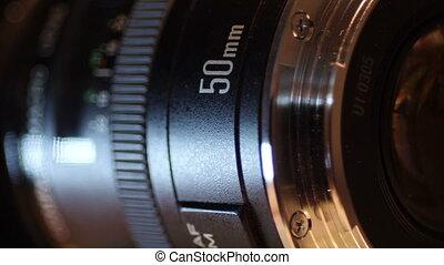 dslr, macro, haut, lentille, appareil photo, fin