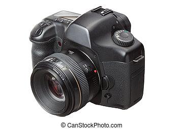 dslr, modern, elszigetelt, fényképezőgép, digitális, fehér
