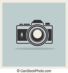 DSLR Professional Camera Icon On Retro Vintage Background...