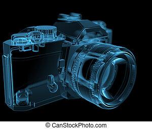 DSLR SLR camera (3D xray blue transparent)