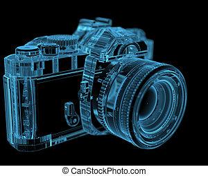 dslr, slr kamera, (3d, xray, blaues, transparent)