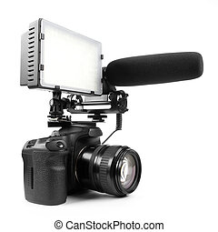 DSLR video camera isolated on white background with...