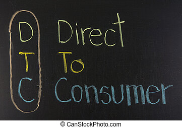 DTC acronym Direct to Consumer ,color chalk handwriting on...