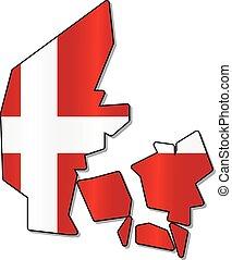duńska bandera, mapa