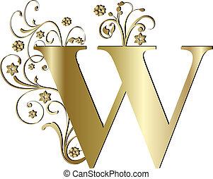 duża litera, w, złoty
